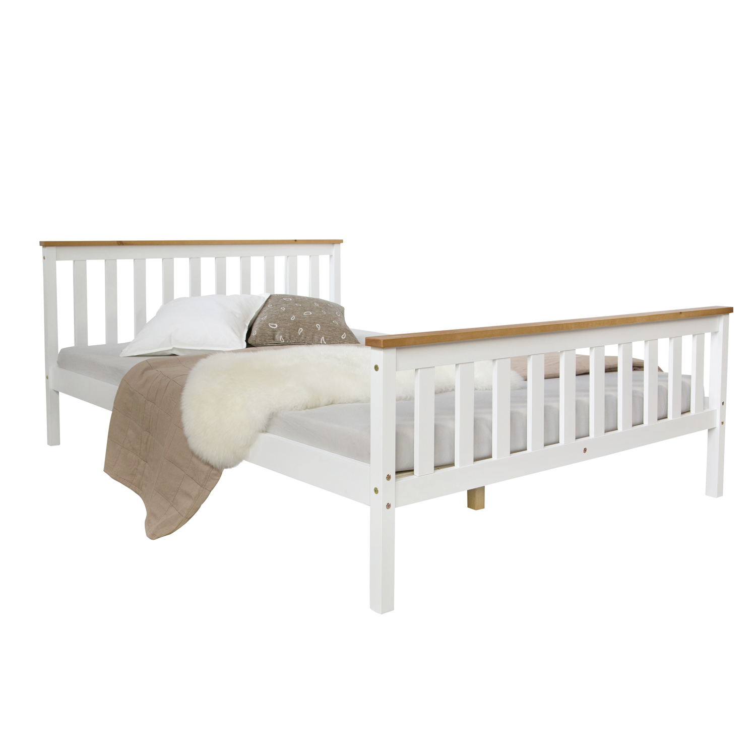 Futonbett 140x200 Weiß 4ft Small Double Bed Solid Pine Frame White Brown