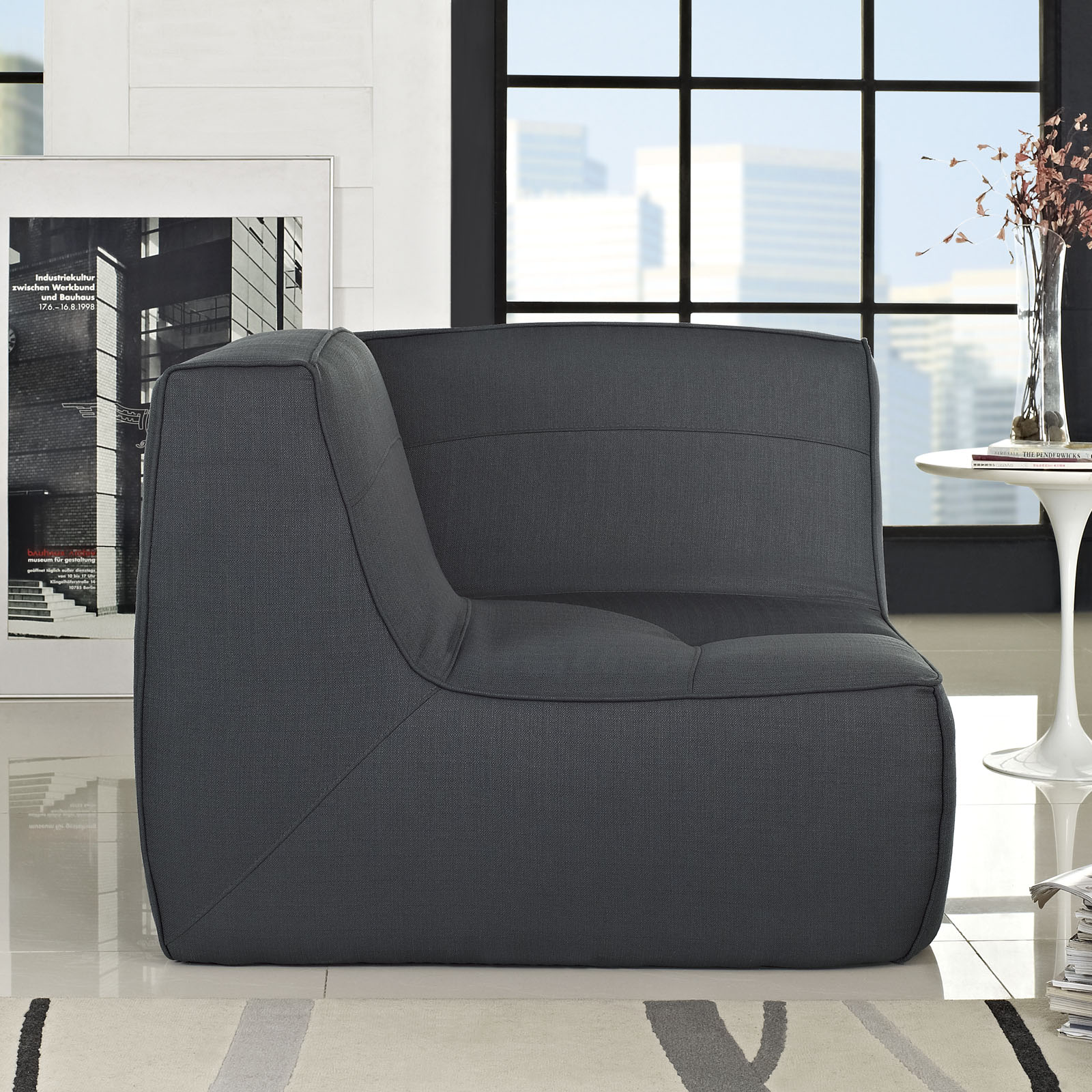 Align Upholstered Fabric Corner Sofa Charcoal