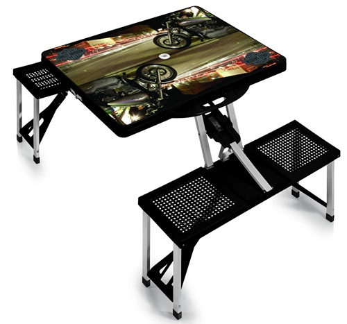 Harley Davidson Folding Picnic Table with Seats