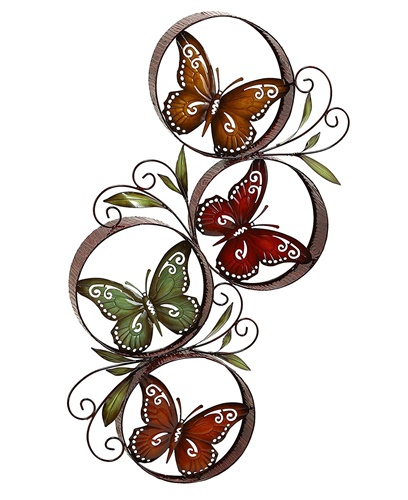 Colorful Butterflies Inside Round Circles Wall Decor