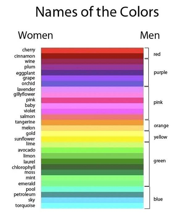 Handy color chart to help understand the difference between male and