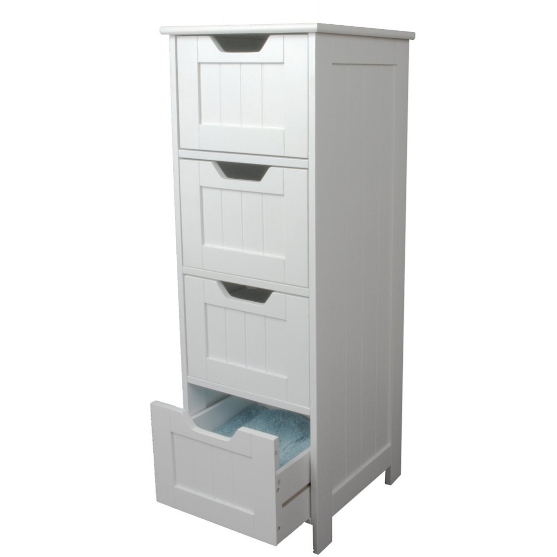 Bathroom Drawers White Storage Cabinet 4 Large Drawers Home Treats Uk