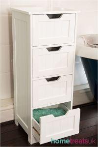 White Freestanding Bathroom Cabinet.Tall 4 Drawer Storage ...