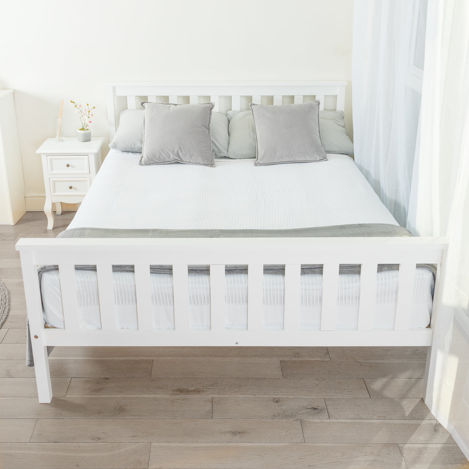 White Wooden Small Double Bed Solid Wooden Double Bed Frame In White Home Treats Uk