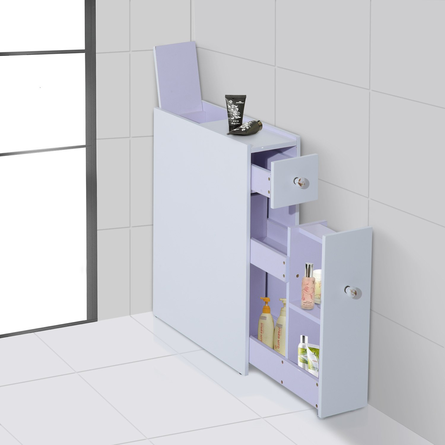 Floor Shelves For Bedroom Bathroom Floor Cabinet In White With Slide Out Storage