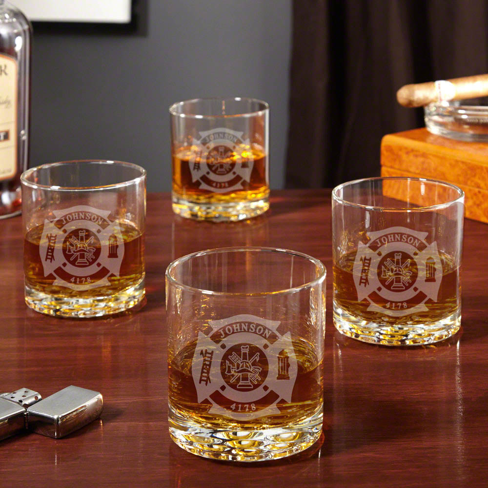 Wisky Glas Fire Rescue Engraved Buckman Whiskey Glasses Set Of 4