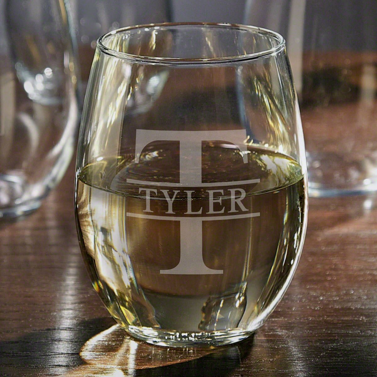 Chardonnay Wine Glass Oakmont Stemless Custom Engraved Wine Glass