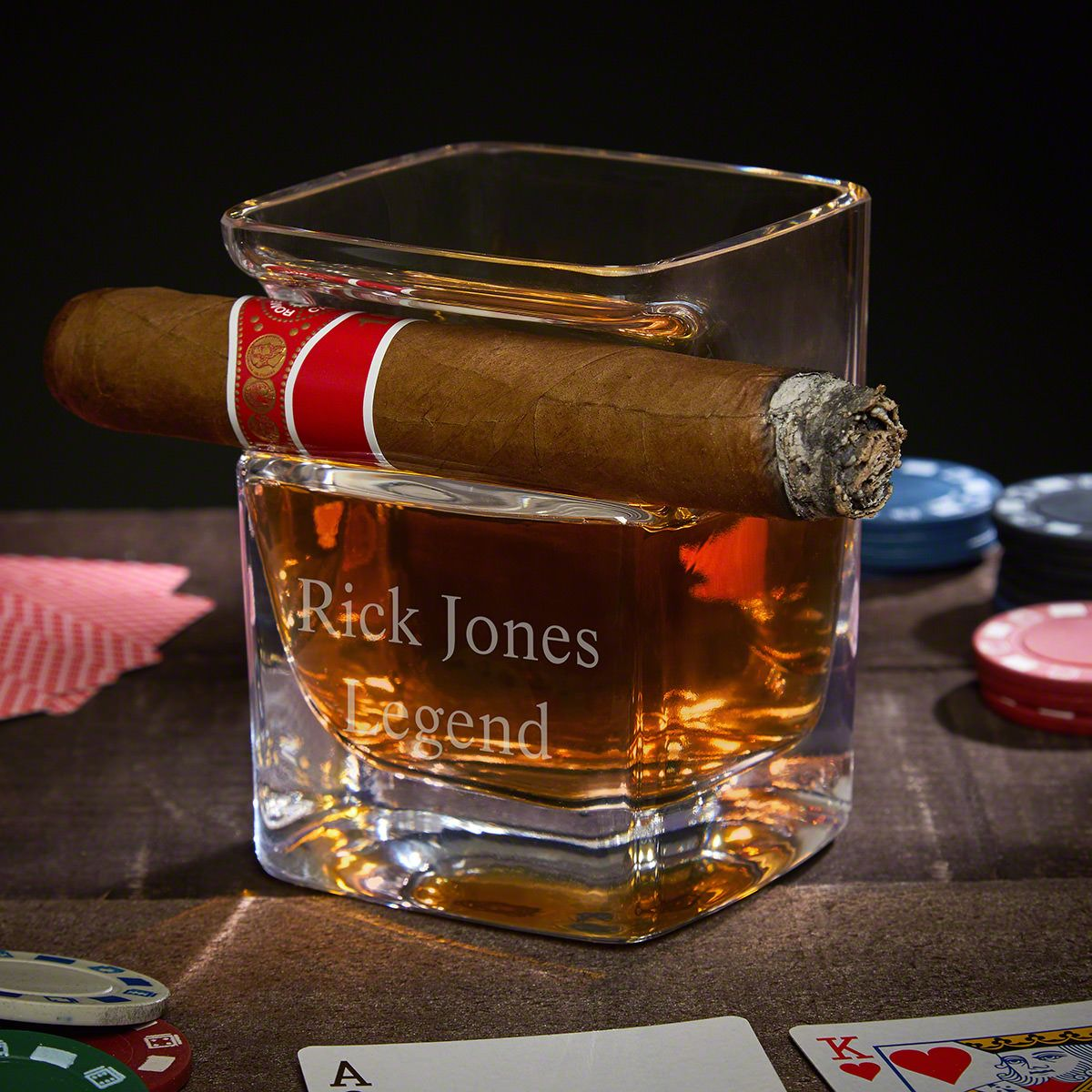 Wisky Glas Personalized Whiskey Cigar Glass Holder