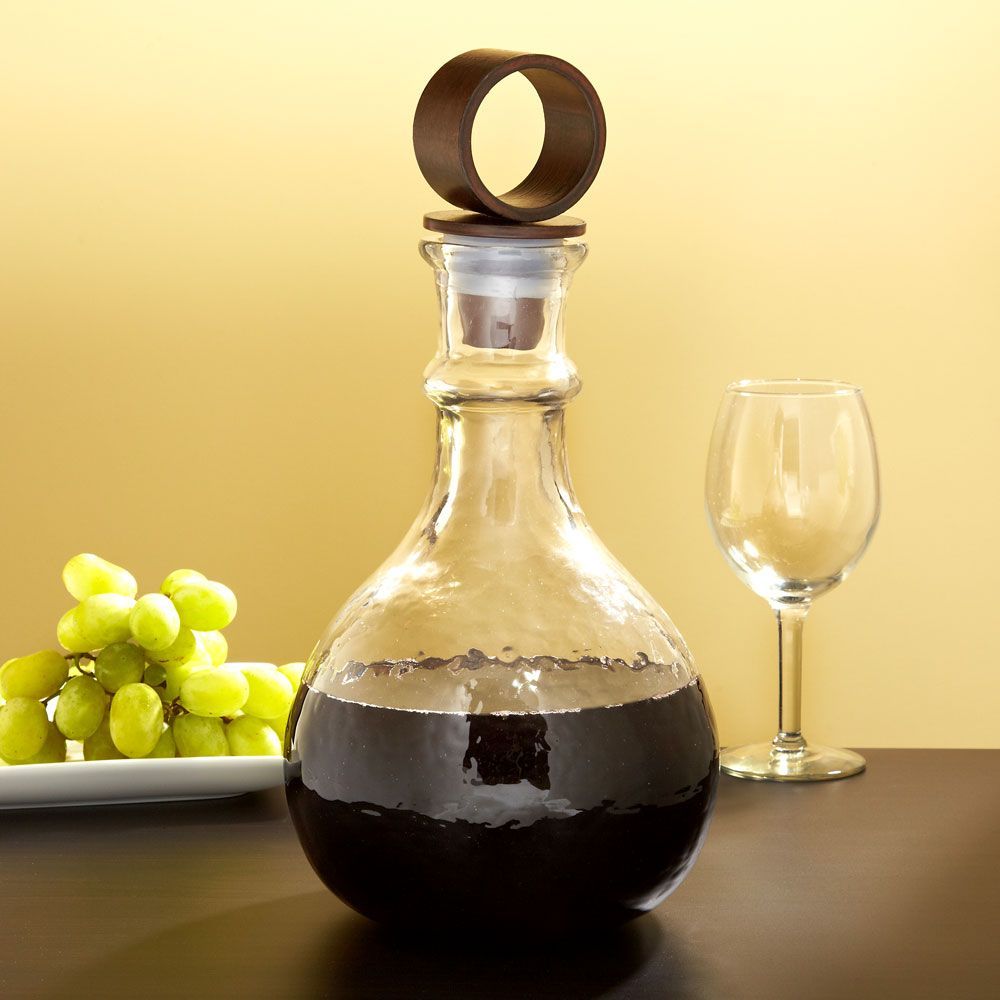 Decanter Wine Glas Hammered Glass Wine Decanter With Iron Stopper