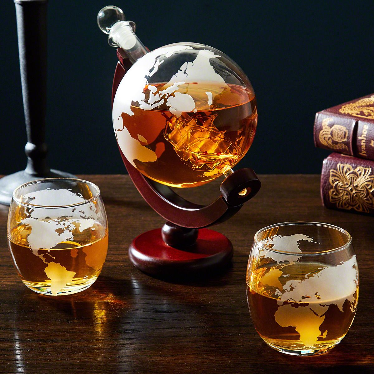 Whiskey Set Larsen Whiskey Decanter Globe And Glassware Set