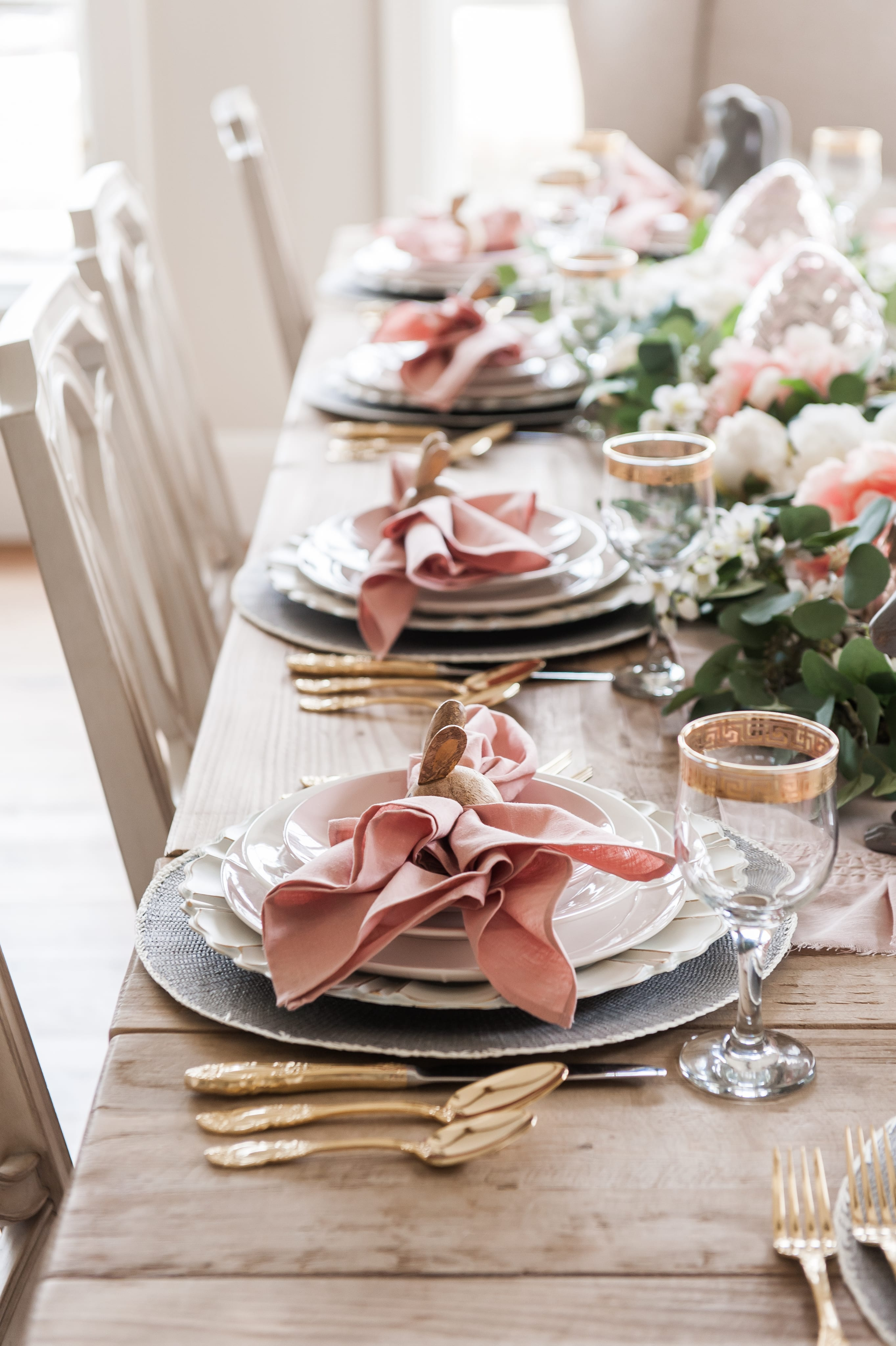 Beautiful Easter Tablescape Pink And Gray Easter Table Setting