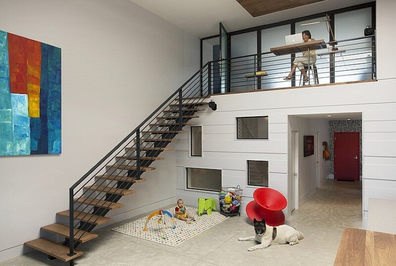 Two story loft with a fresh new look conceived by ZeroEnergy Design - new look home design