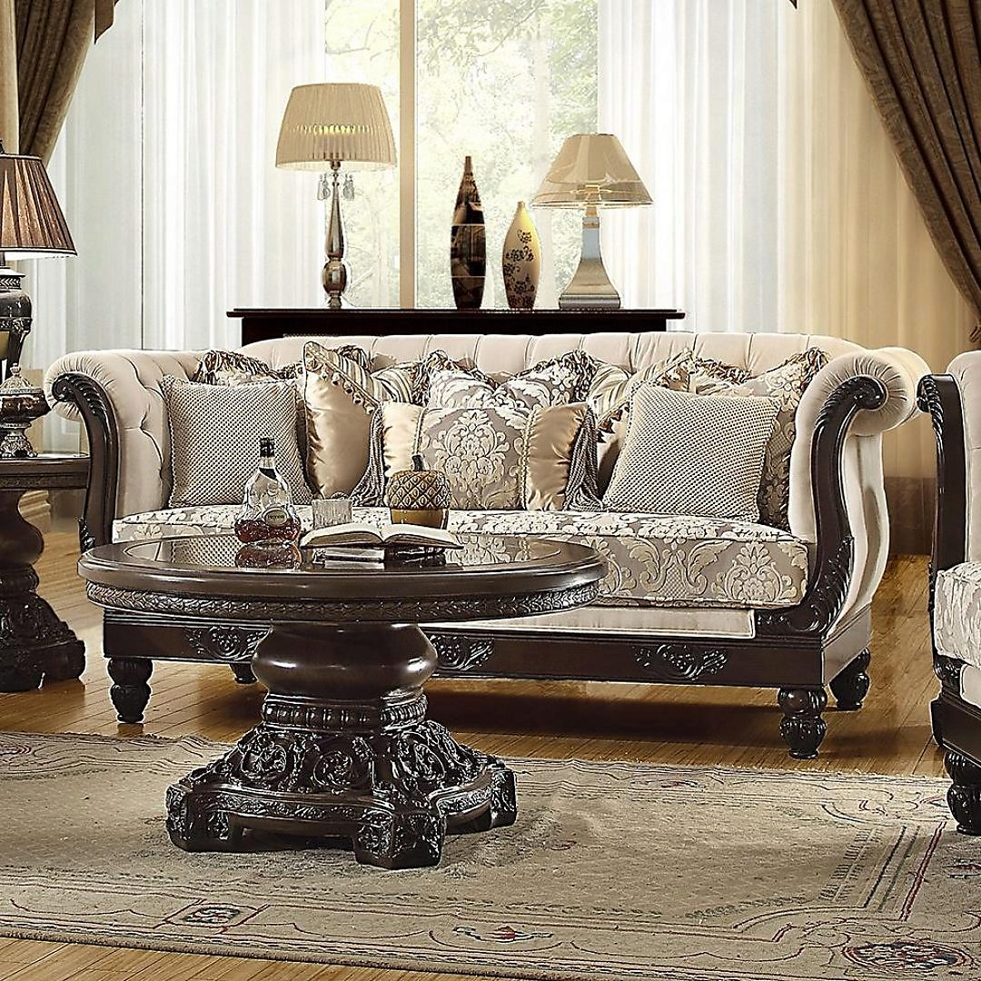 Traditional Living Room Set 3 Pcs In Brown Fabric Traditional Style Homey Design Hd 2651