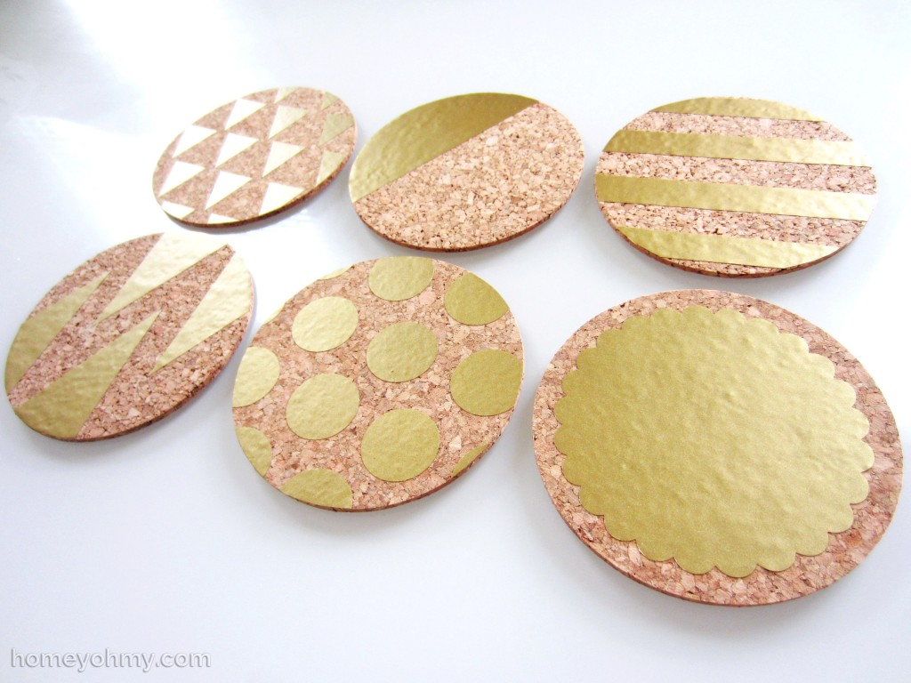 White And Gold Coasters Diy Gold Vinyl Coasters Homey Oh My