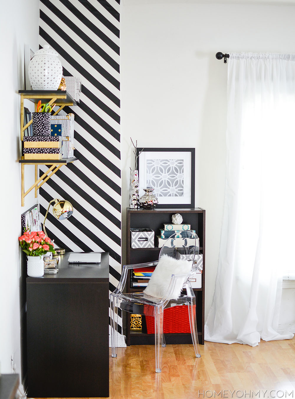 Black Accent Walls How To Create A Striped Accent Wall Without Paint Homey Oh My