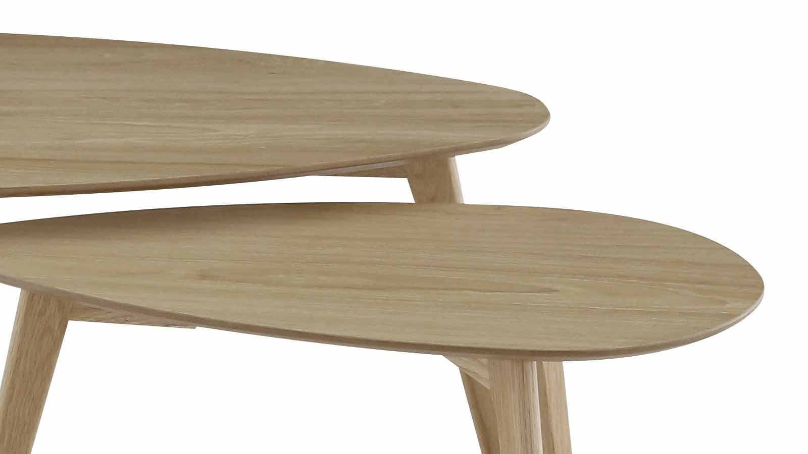 Table Salon Gigogne Set De 2 Tables Basses Gigognes Scandinaves En Chêne Piètement