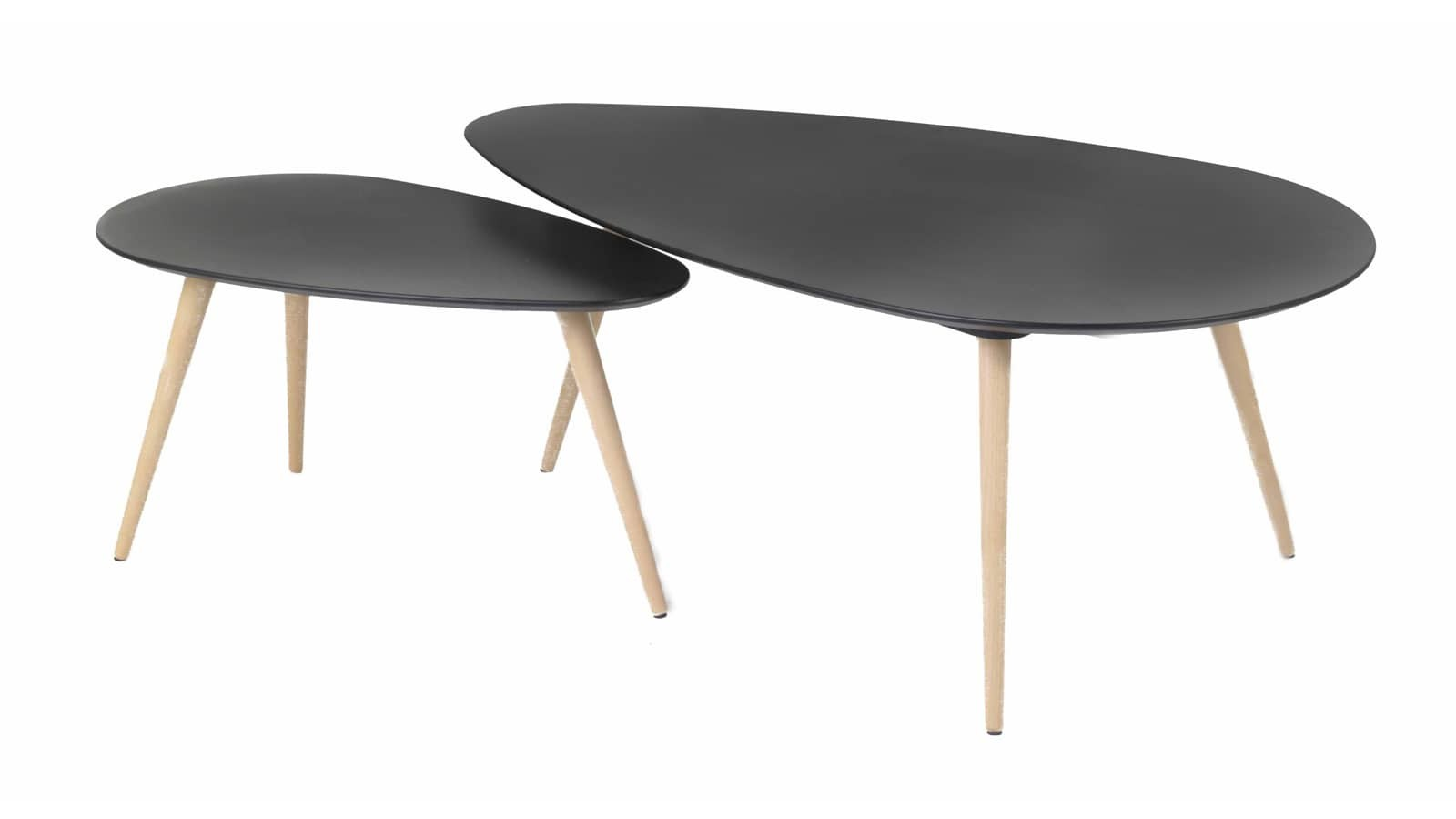 Table Scandinave Noire Set De 2 Tables Basses Gigognes Scandinaves En Bouleau Noir