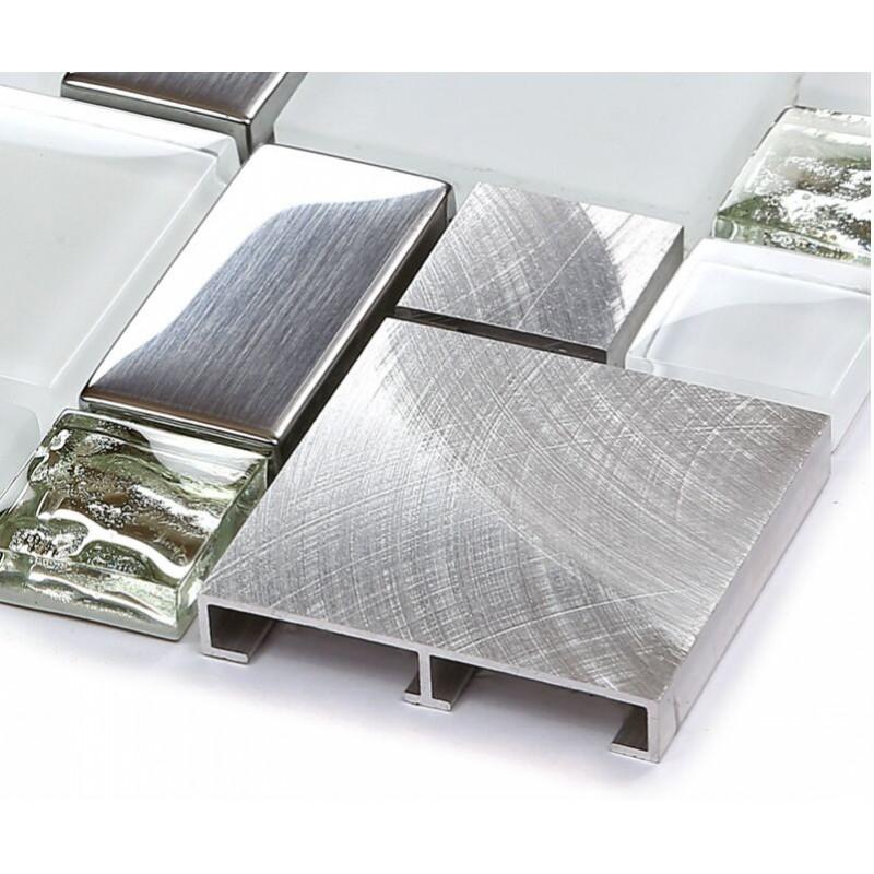 tile brushed aluminum tiles silver metal glass mosaic kitchen wall silver metal mosaic stainless steel kitchen wall tile backsplash