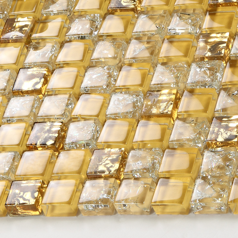 Metallic Keuken Crystal Glass Tile Backsplash Border Bathroom Gold Glass