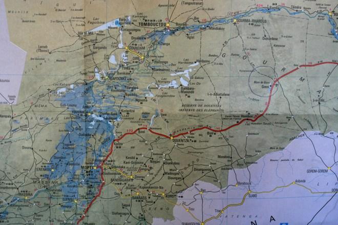 Carte du Mali, région de Mopti, Douentza et Tombouctou (lieux du début de l'intervention française au Mali)