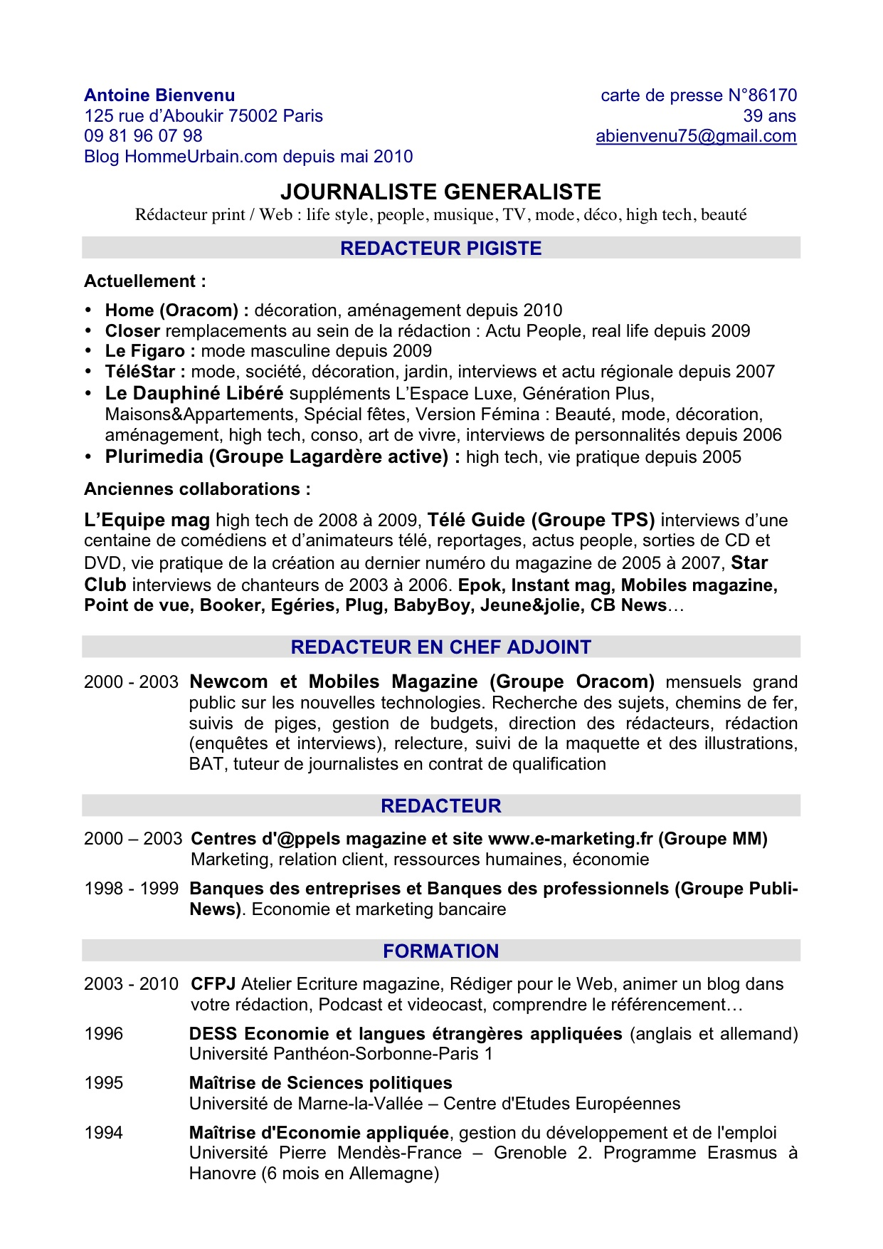 cv anglais exemple personnal