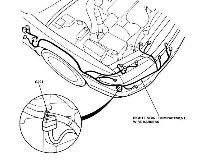 1997 honda civic headlight wiring harness