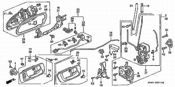 2005 honda civic door manual lock diagram