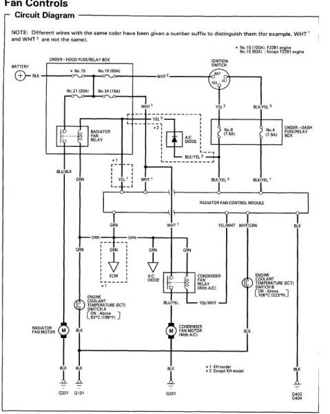 97 honda accord engine cooling fan wiring diagram