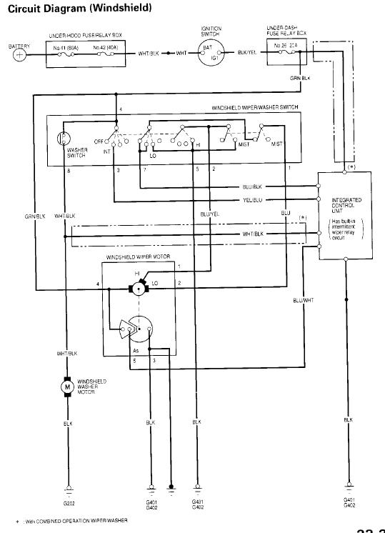 honda wiper motor wiring diagram