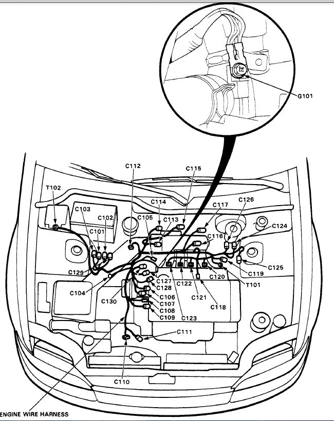 92 civic engine harness diagram