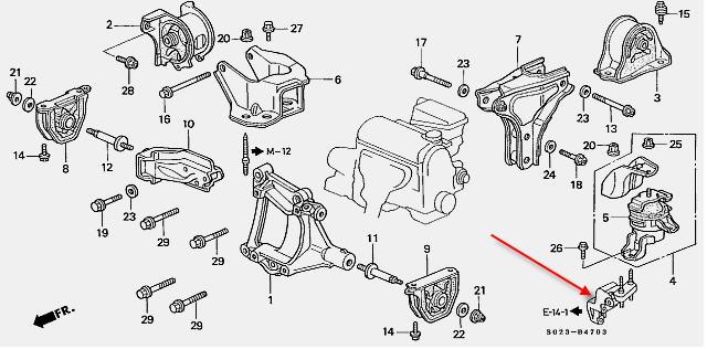 2009 honda civic engine mount diagram