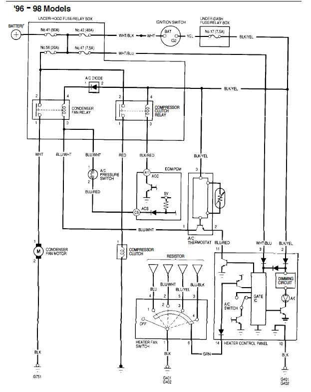 2000 Honda Civic Ac Wiring Control Cables  Wiring Diagram