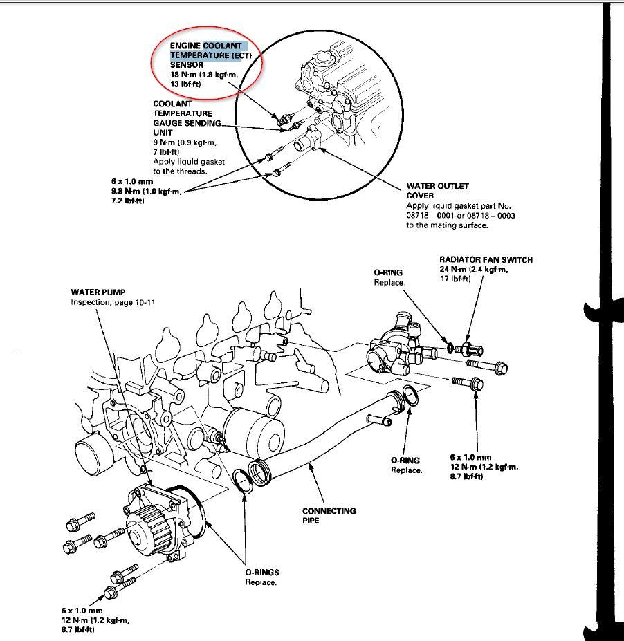 honda engine coolant temperature sensor code
