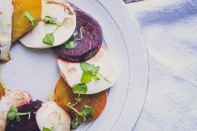 organic beet and fresh mozzarella with watercress salad-7