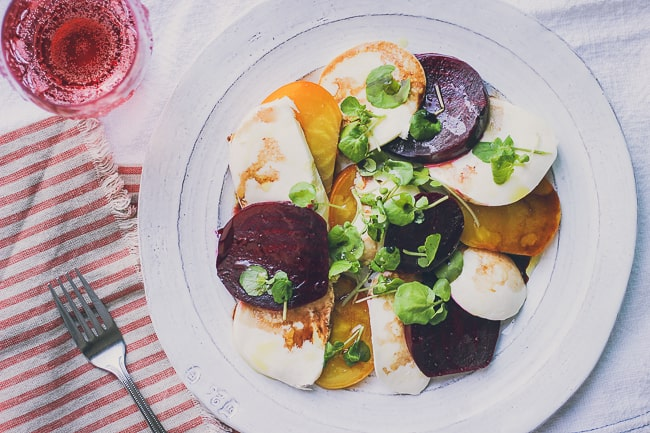 organic beet and fresh mozzarella with watercress salad