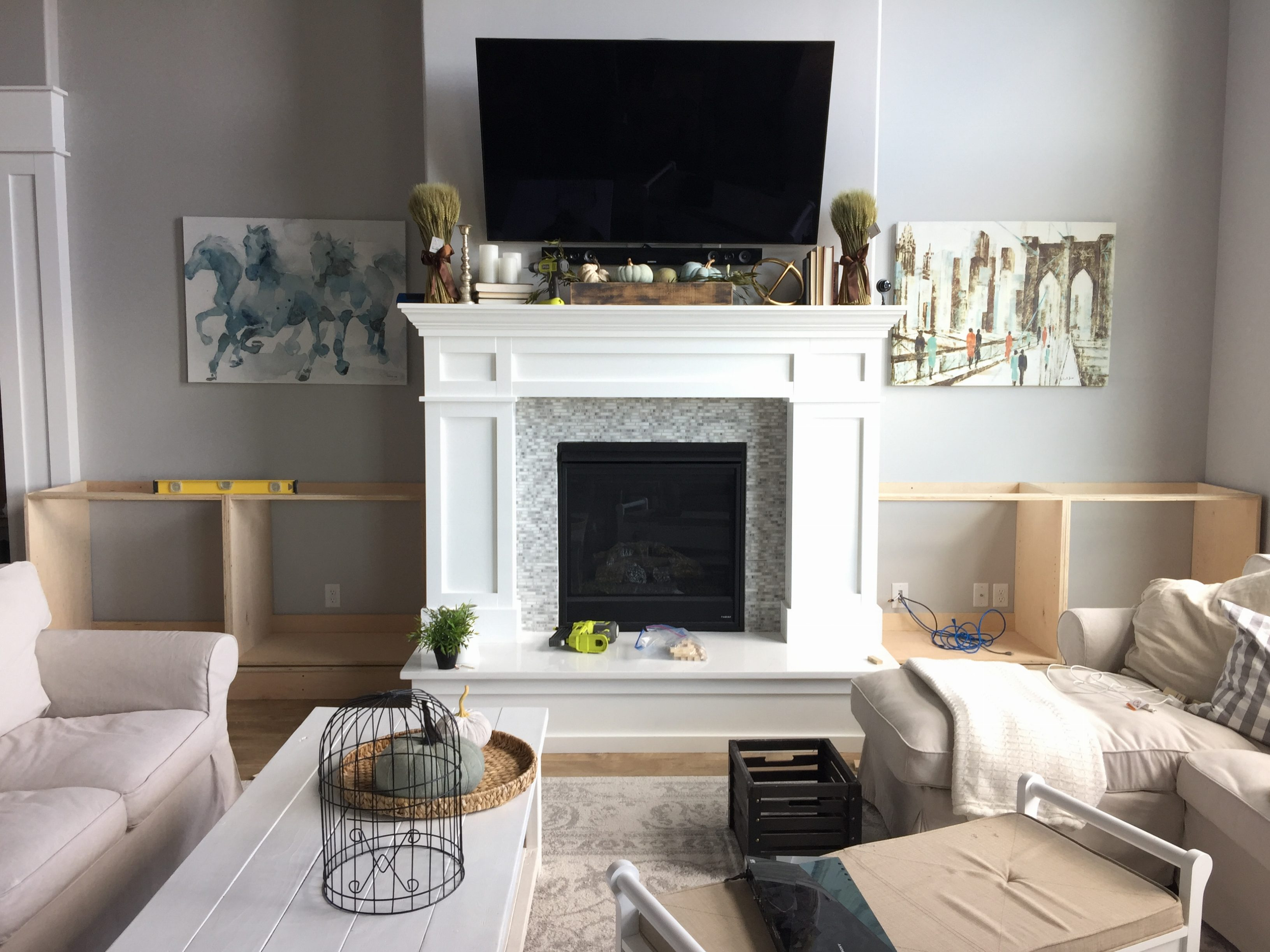 What To Put On Fireplace Mantel Built Ins Around The Fireplace Part 1 - Honeybear Lane
