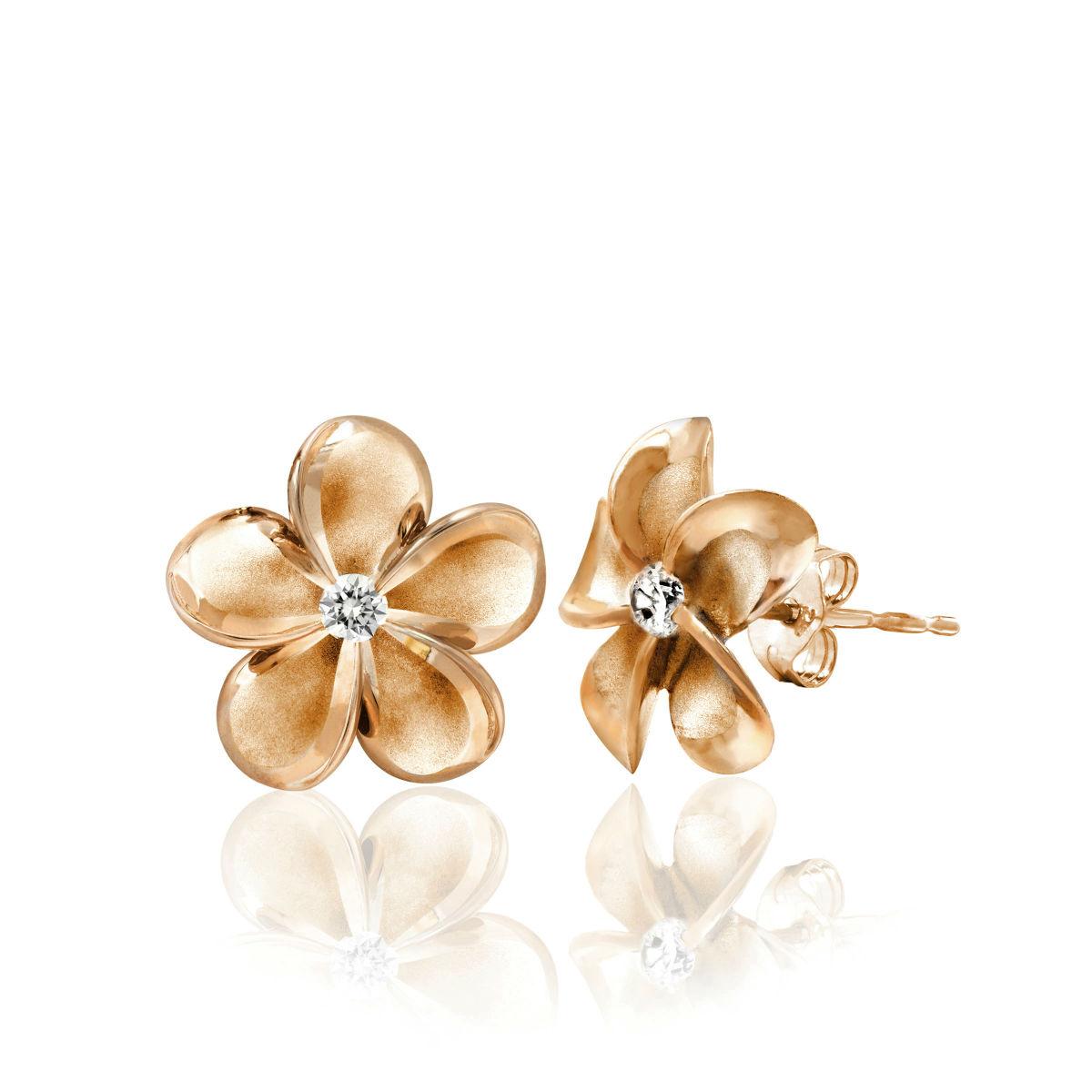 Queen Plumeria Diamond Stud Earrings 14K Rose Gold