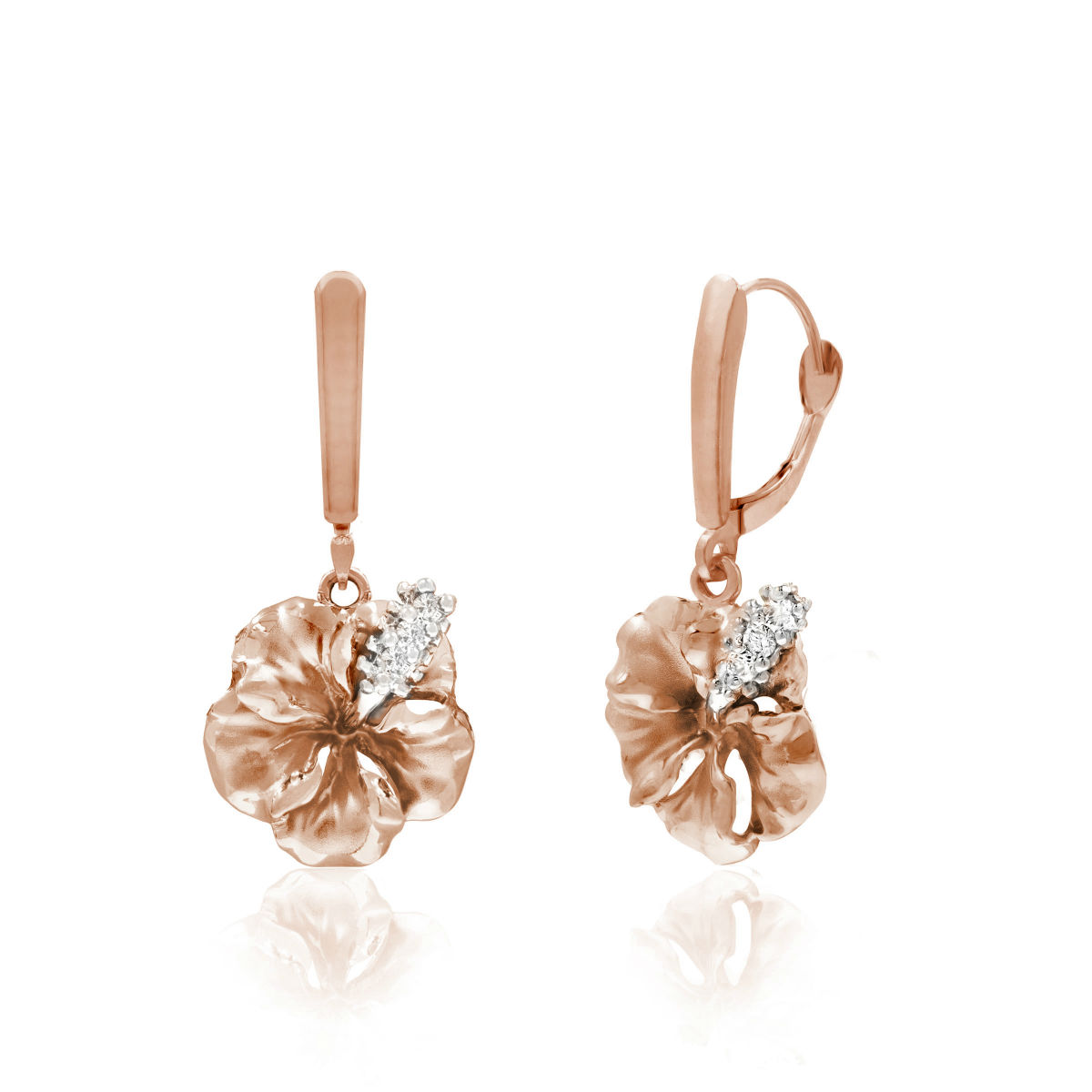 Two Tone Rose Gold Hibiscus Leverback Diamond Earrings