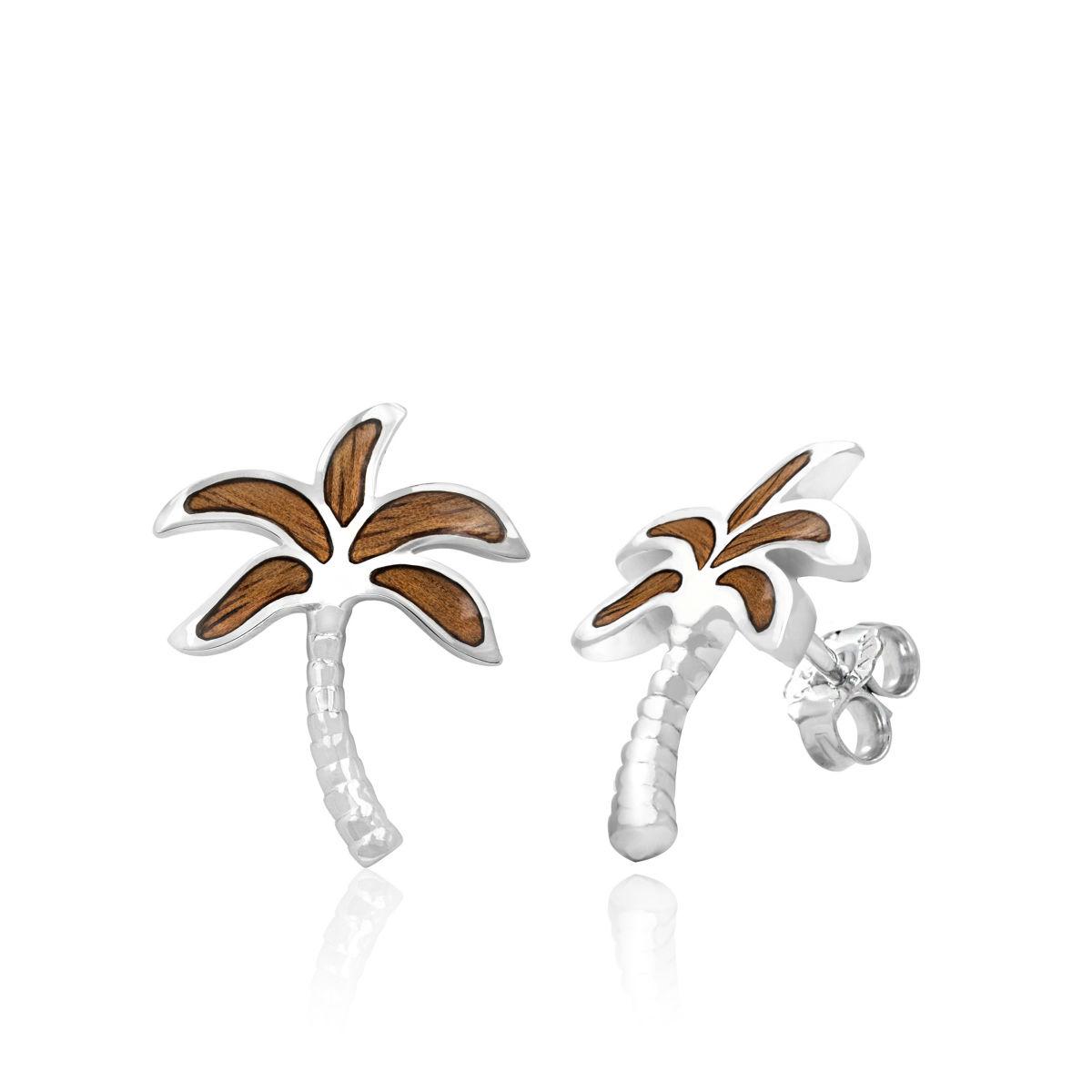 Koa Wood Sterling Silver Palm Tree Post Earrings