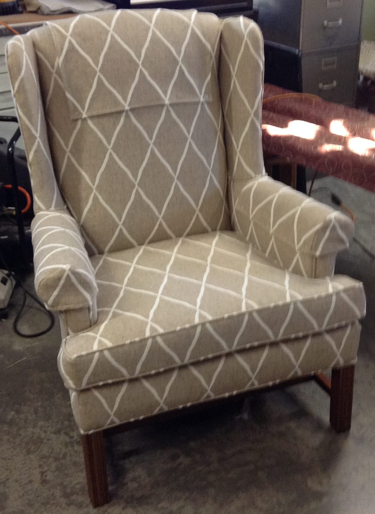 Overstuffed Wingback Chair Our Work Hood Upholstery