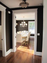 looking into black-painted dining room - Hooked on Houses