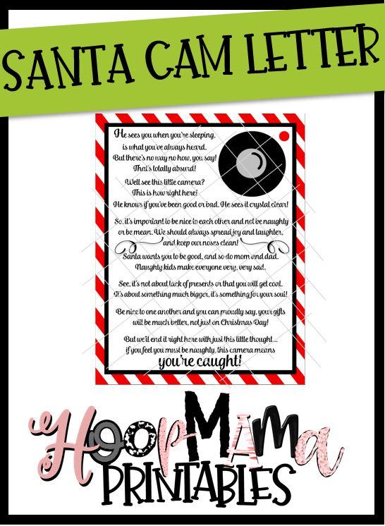 Santa Camera Letter Printable DOWNLOAD - HoopMama