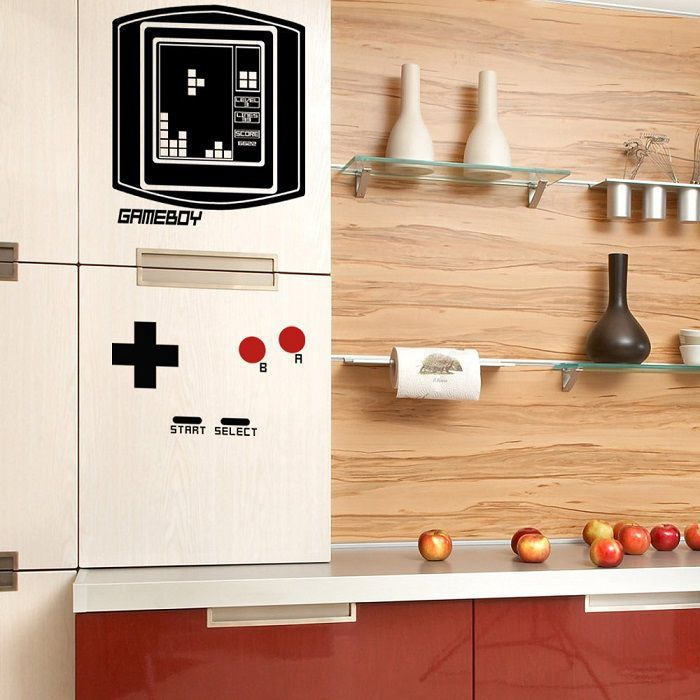 Autocollant Pour Porte De Placard Fridge Boy, Le Set D'autocollants Frigo En Game Boy