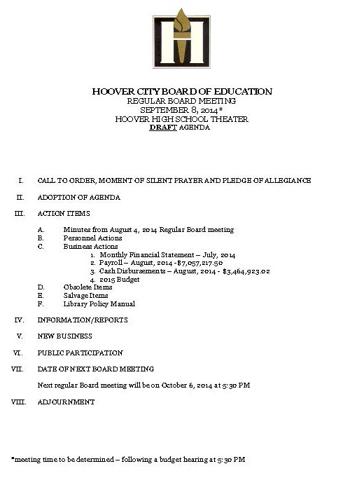 Agendas for Monday\u0027s and Tuesday\u0027s Board Meetings \u2013 Hoover City