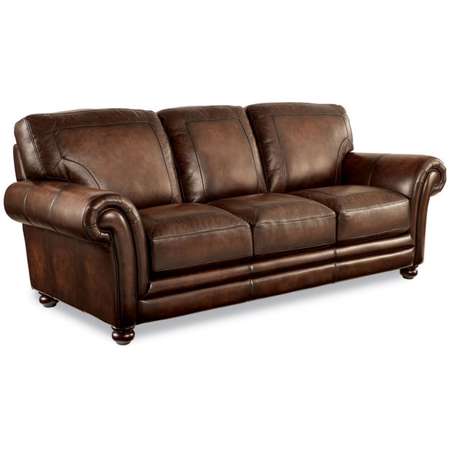 Brown Real Leather Couch Lazboy 710 805 William Signature Stationary Leather Sofa
