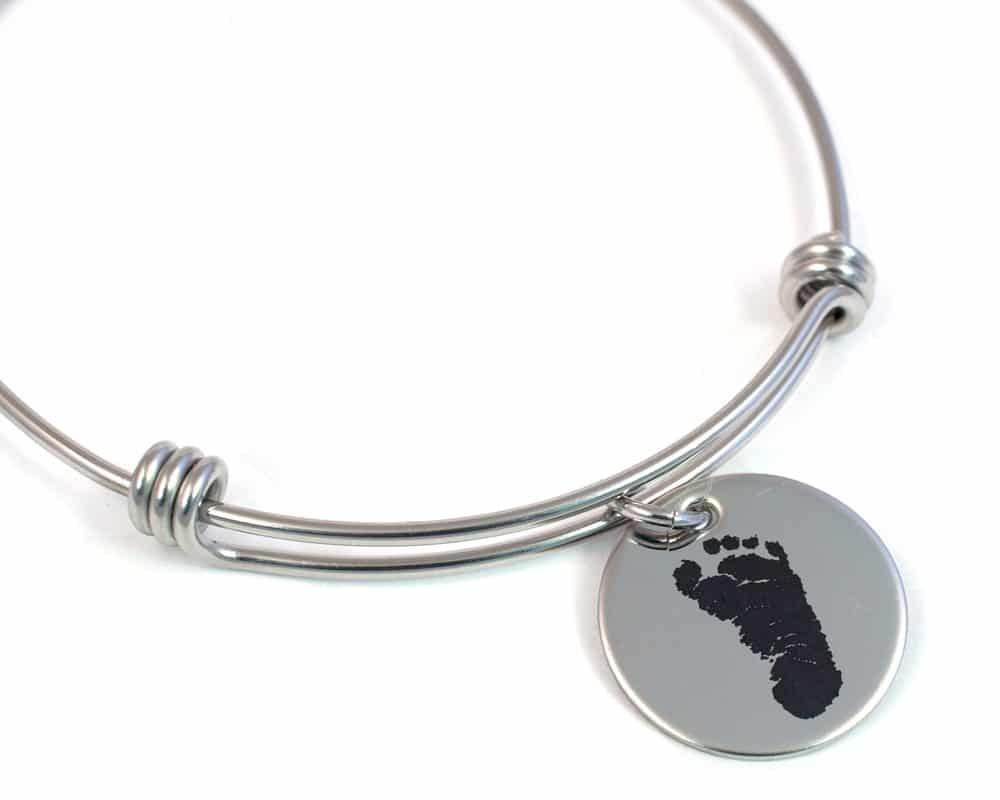 Actual Footprint Bangle Bracelet Engraved Stainless