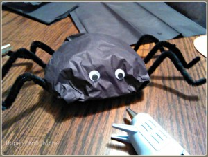 Silly Spider Treat Bags-attaching eyes.