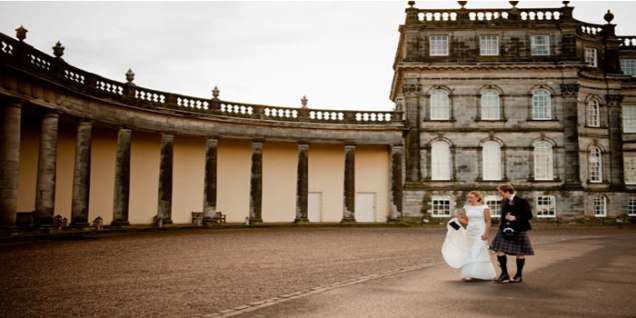 Bride and Groom outside Hopetoun House
