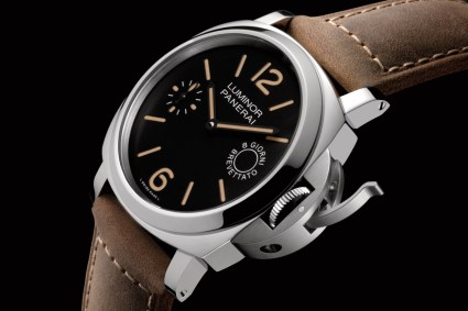 LUMINOR MARINA 8 DAYS ACCIAIO - 44mm_PAM00590_P.5000 MOVEMENT_STEEL_BLACK DIAL_BROWN CALF STRAP