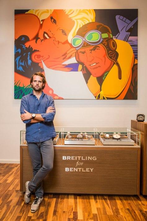 Andy Soucek en la boutique Breitling
